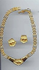 Gold tone Leopard Necklace and Earrings