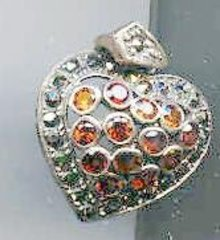 SALE Garnet  stone Heart Pendant with