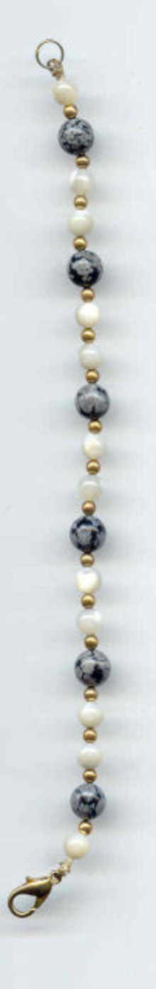 SALE Gem Bracelet Snowflake Agate  and mother