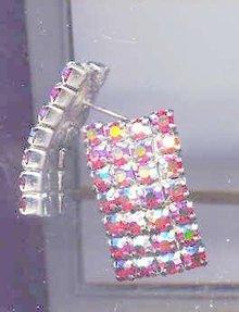 SALE Wide Lush Aurora Borealis Pink tone Rhinestone Earrings