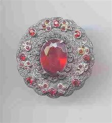 SALE Vintage Round Pin With Red Stones