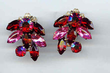 Red and Pink Rhinestone Earrings clip