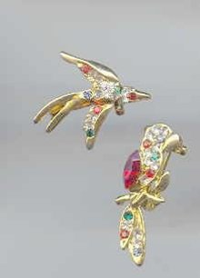 Parrot and Flying bird  Rhinestone Pins