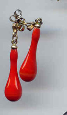 SOLD Red Drop Glass Earrings.