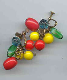 Fruit Colored Glass Earrings