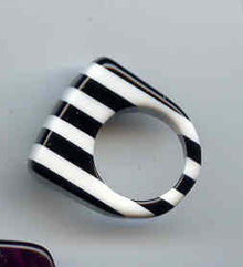60's  Black and White Lucite Ring