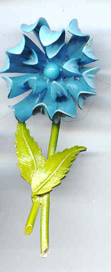 Long Aqua and Lime Green Flower Pin