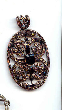 Copper and Black Glass Pendant   large