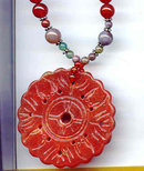 Carnelian and Jade Stone Necklace  wow