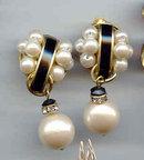 Beautiful faux Pearl and Enamel Earrings