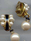 Beautiful faux Pearl and Enamel Earrings