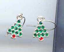 Little Silvertone Christmas Tree Earrings...