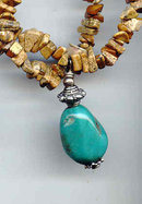 turquoise and Stone Long necklace