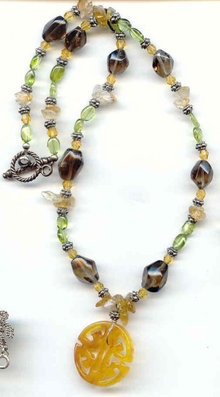 Jade and preious gem stones Necklace