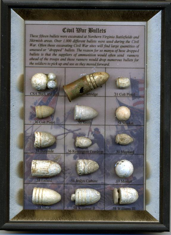 Framed Display of 15 Different Authentic Excavated Civil War Bullets