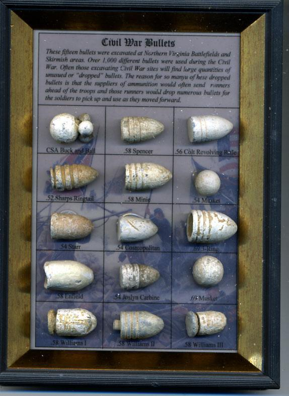 Framed Civil War Bullet Display Containing 15 Different Excavated Bullets