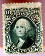 RARE US #96 - 1867 10c Washington MLH FVF