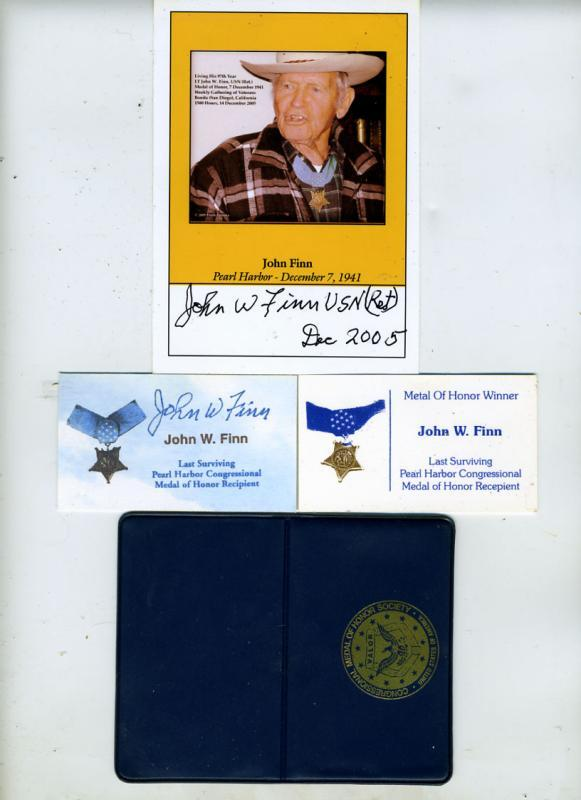 John Finn, Medal of Honor, Hand Signed Photo Plus Other Items