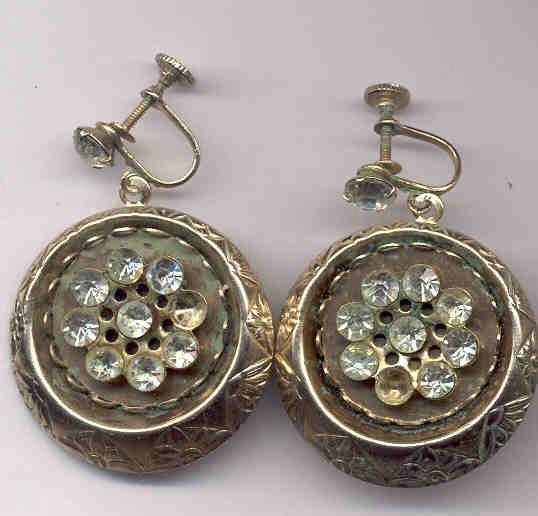 Hanging Medallion Disc Clip-On Earrings