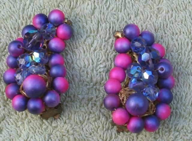 Purple Beaded Moon Earrings