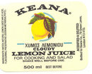 Keana Lemon Juice Label