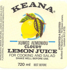 Keana Lemon Juice Label 1950s