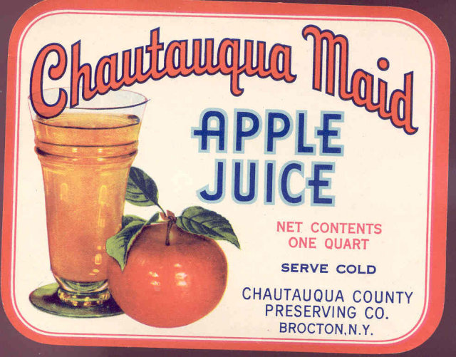 Chautauqua Maid Apple Juice Can Bottle Label