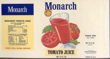 Monarch Tomato Juice Can Label
