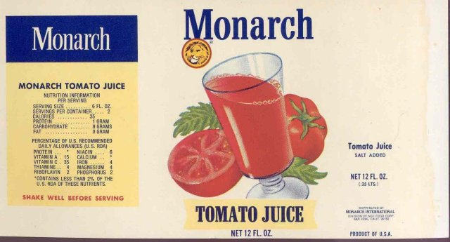 Monarch Tomato Juice Can Label
