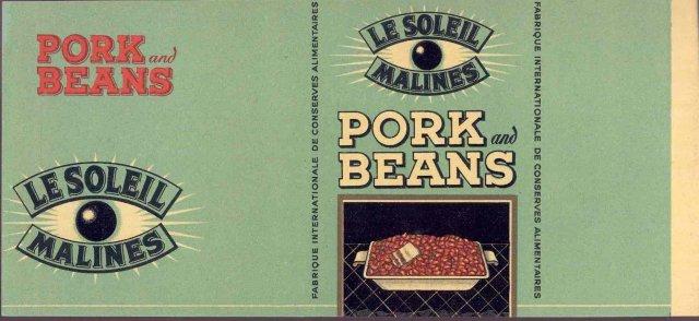 Le Soleil Pork Beans Can Label