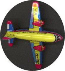 World Airline Plane Friction Tin Toy