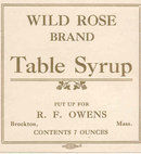 Wild Rose Table Syrup Label