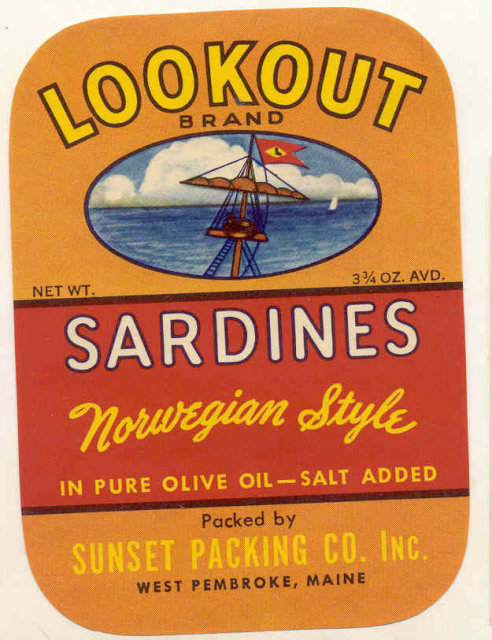 Lookout Sardine Can Label