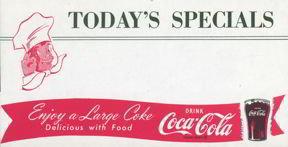 Coca-Cola Soda Coke Menu Sheet