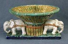 Majolica-style Elephant Flower Planter