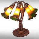 Glass Six Light Lily Flower Lamp