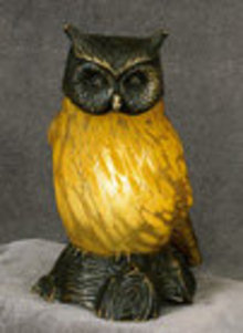 Amber Glass Owl Lamp