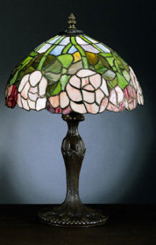 Rose Tiffany-Style Lamp - Leaded Glass Shade with Cast Metal Base