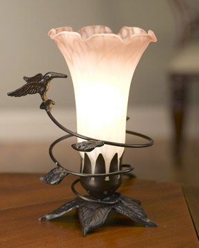 Hummingbird Lamp Pink and White Shade