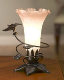 Hummingbird Lamp Pink and White Shade