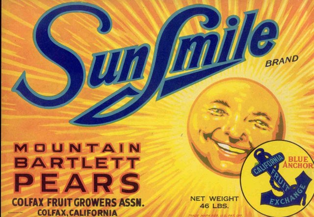 Sunsmile Mountain Bartlett Pears Crate Label