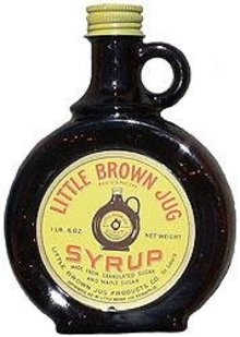 Little Brown Jug Glass Amber Syrup Bottle