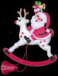 Santa Claus on Reindeer Mechanical Pull Toy