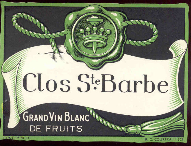 Clos Ste. Barbe Wine Label 1940s