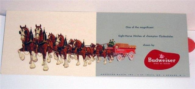 Anheuser Busch Beer Postcard Clydesdale Horses