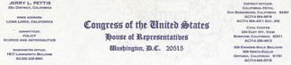 Jerry Pettis Letterhead from Congress