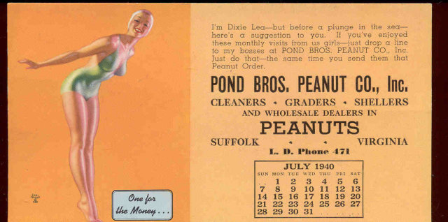 Pond Peanuts Moran Pinup Blotter 1940