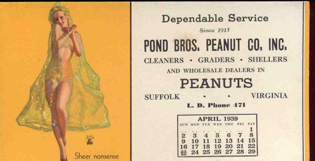Moran Sheer Nonsense 1939 Calendar Blotter