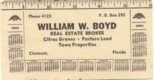 William Boyd 1950 Ruler Calendar Blotter