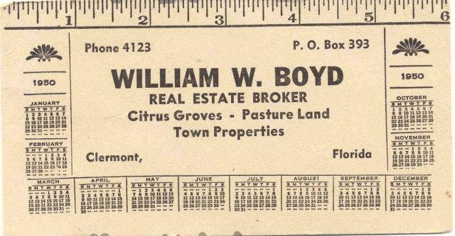 William Boyd 1950 Ruler Calendar Blotter
